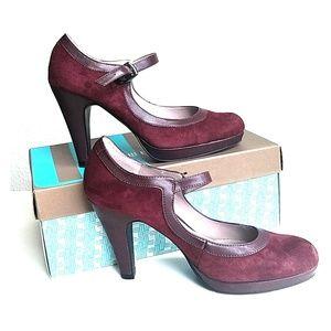 NIB Suede & leather maroon platform Mary Janes